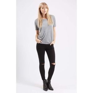 TOPSHOP Moto Leigh Ripped Skinny Jeans— Black